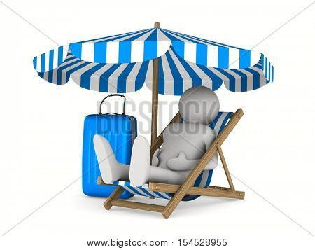 Man on deckchair and luggage on white background. Isolated 3D image
