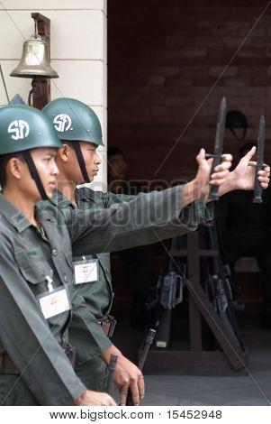 Bangkok - March 2011: King's Palace Guard Of Honor Change With Bayonets Off, 02 March 2011, Bangkok,