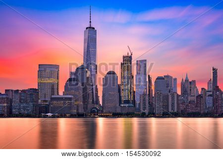 New York City Financial District at dawn.