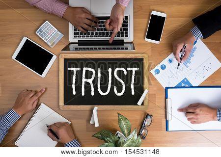 TRUST Business Concept and TRUST FUND achievement, announcement, assistance