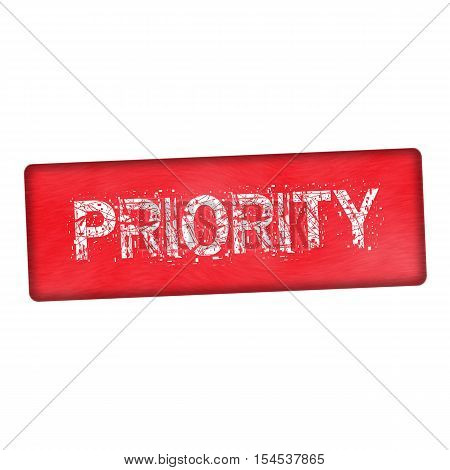 priority white wording on wood red background