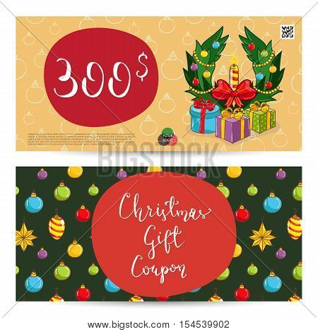 Christmas Voucher Template Vector. Xmas Gift Voucher Layout Or Discount  Voucher. Special Offer Xmas