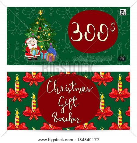 Christmas Voucher Template Vector Xmas Gift Voucher Layout Or