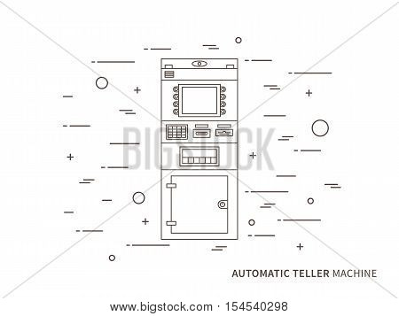 Vector automatic teller machine ATM cash dispenser automatic cash terminal concept graphic design illustration.