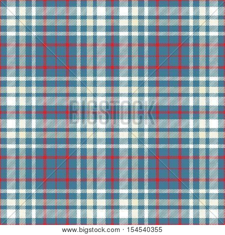 Seamless tartan plaid pattern. Red, white & pale yellow stripes on teal greenish blue background.