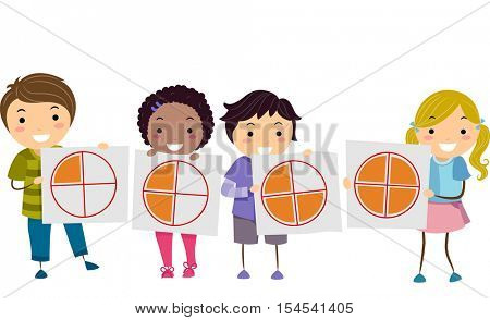 Stickman Illustration of a Diverse Group of Preschool Kids Demonstrating the Concept of Fractions Using a Pie Graph