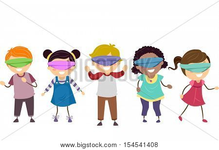 Stickman Illustration of a Diverse Group of Preschool Kids Wandering Aimlessly While Blindfolded