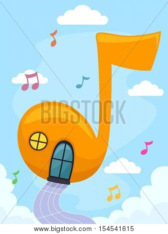 Whimsical Illustration of a Colorful Floating House Shaped Like a Musical Note