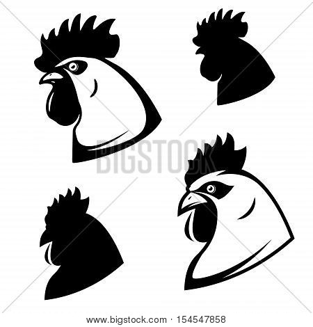 Set of chicken heads. Rooster head. Design elements for logo, label, emblem, sign, brand mark. Vector illustration.