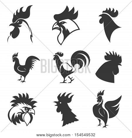 Set of the roosters icons. Chicken heads. Design elements for logo, label, emblem, sign, brand mark. Vector illustration.