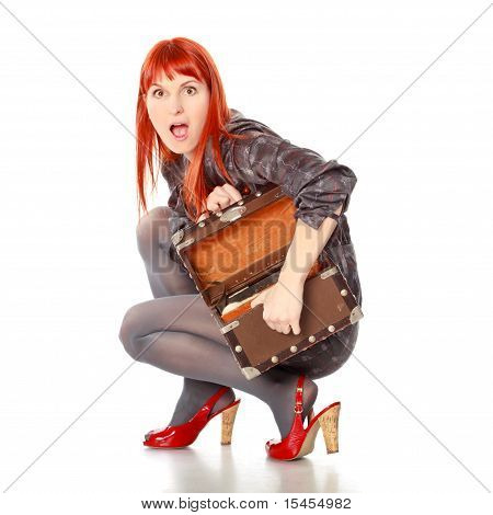 Extravagant Woman With Suitcase Screams