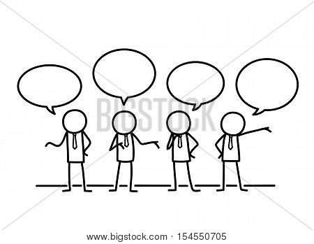 Public Relations Communication Concept Doodle. A hand drawn vector doodle illustration of a group of businessman stick figures communicating together.