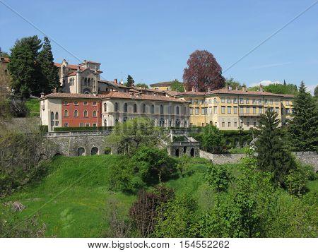 The city of Bergamo in spring, Italy