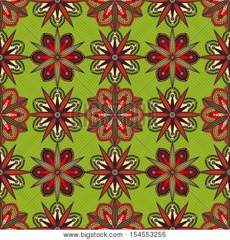 Seamless floral oriental pattern. Ornamental print of red flowers on olive green background.