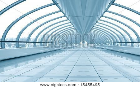 Symmetric Modern Hall Inside Airport