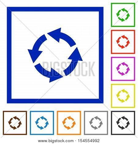Rotate left flat color icons in square frames