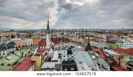 Panorama of the city skyline in Olomouc Czech Republic. Europe.