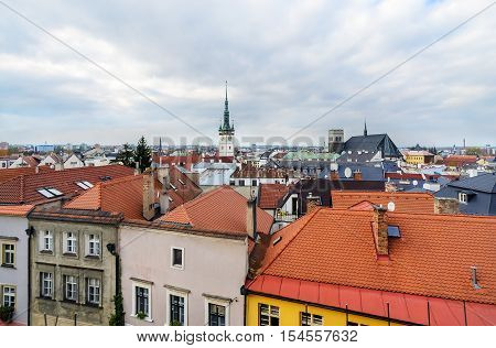 Panorama of the city skyline with town hall in Olomouc Czech Republic. Europe.