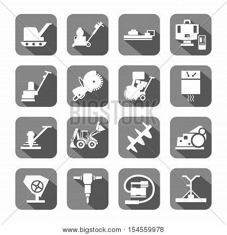 Equipment for working with concrete, construction equipment, icons, flat.  White, vector image of  tools on a gray background with shadow.