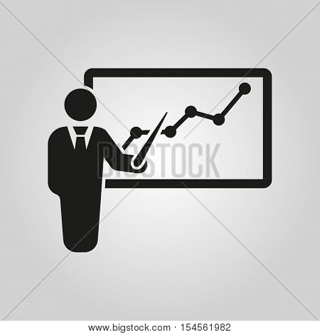 The staff training icon. Presentation and lectures, presentations, workshops, seminar symbol. UI. Web. Logo. Sign. Flat design. App. Stock vector