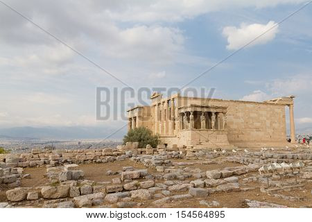 Erechtheum temple ruins on the Acropolis in Athens Greece on an August afternoon