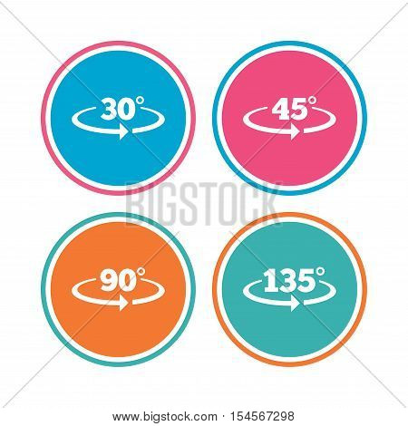 Angle 30-135 degrees icons. Geometry math signs symbols. Full complete rotation arrow. Colored circle buttons. Vector