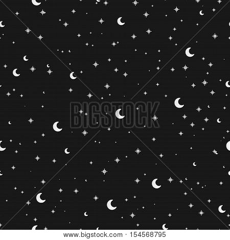 Vector Simple Seamless Pattern With Silver Stars And The Moon On A White Background