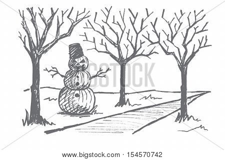 Vector hand drawn Halloween concept sketch. Snowman made of three pumpkins with scary mans face, bucket on head and dry tree twigs as hands standing near autumn alley