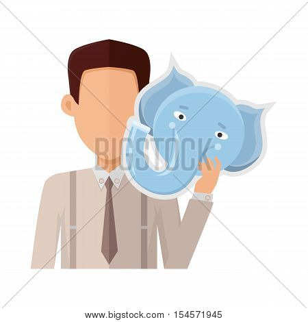 Man character in shirt and tie with elephant mask in hand vector. Flat design. Masquerade animal clothing and party costume. Psychological portrait and hidden personality. Isolated on white background