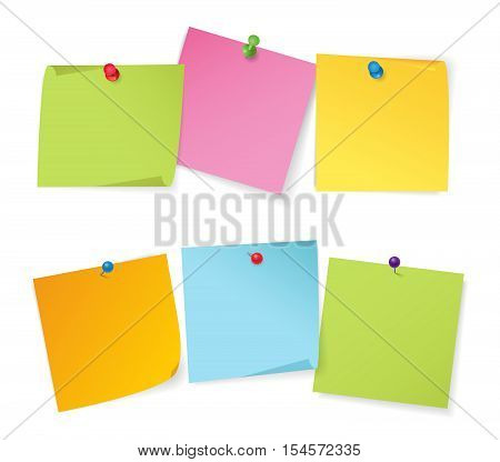 Realistic vector illustration set of color note papers with different color pushpins isolated on white