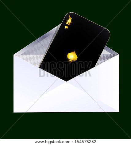 dark green background and the dark envelope with black card of ace inside