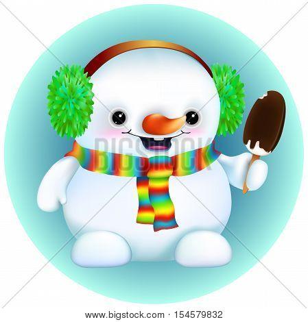 funny cartoon snowman in furry earmuffs,rainbow scarf. With ice cream on a stick