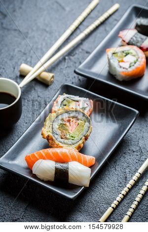 Close Up Of Fresh Sushi With Soy Sauce