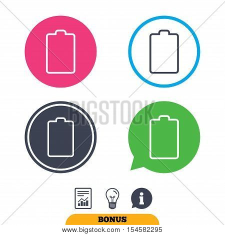 Battery empty sign icon. Low electricity symbol. Report document, information sign and light bulb icons. Vector