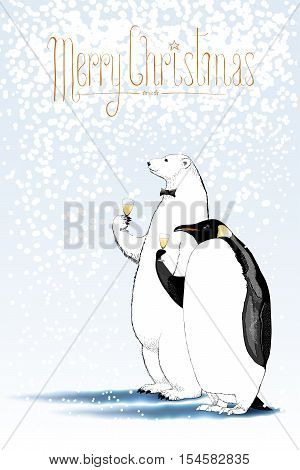 Merry Christmas vector seasonal greeting card. Penguin polar bear characters celebrating holliday. Design element with Merry Christmas hand drawn lettering