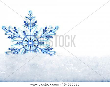 Snowflake in white snow. Isolated. Winter Christmas banner with snowflake and white snow.