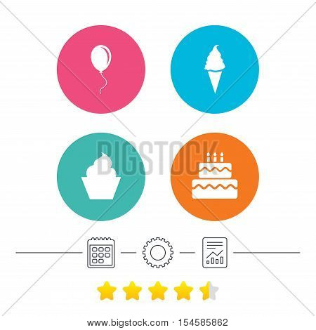 Birthday party icons. Cake with ice cream signs. Air balloon with rope symbol. Calendar, cogwheel and report linear icons. Star vote ranking. Vector