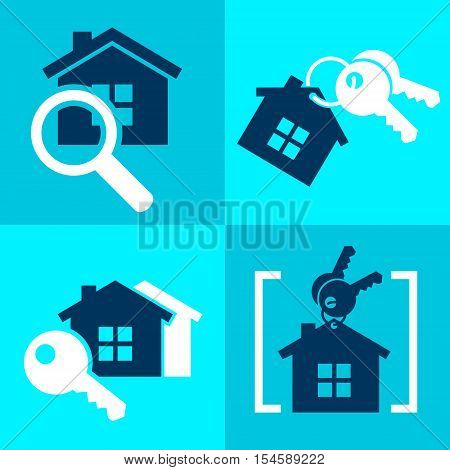 set of home sale rent  simple icons vector illustration