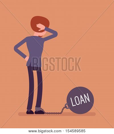 Businesswoman chained with a giant metall weight, written Loan on a ball, thinking the problem over, scratching his head. Rear view. Cartoon vector flat-style concept illustration