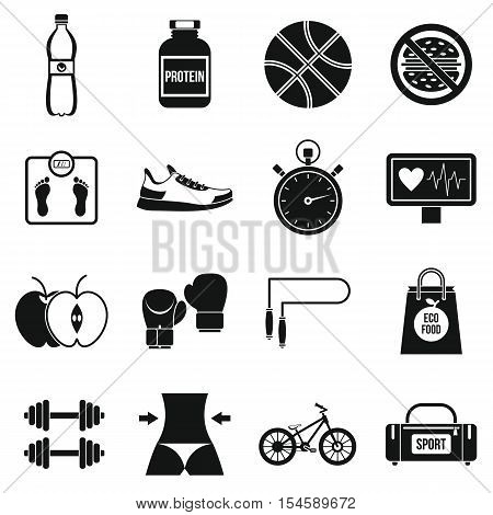 Healthy life icons set. Simple illustration of 16 healthy life travel vector icons for web