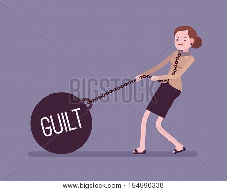 Businesswoman dragging a giant heavy weight on chain, written Guilt on a ball. Cartoon vector flat-style concept illustration