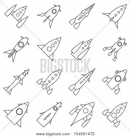 Rocket launch icons set. Outline illustration of 16 rocket launch vector icons for web