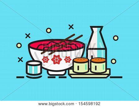 Sushi roll ramen and sake. Japanese food meal. flat line design elements. vector illustration