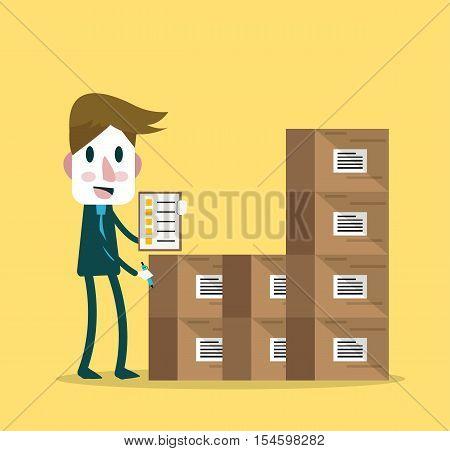 Supervisor counting stocks. flat character design. vector illustration
