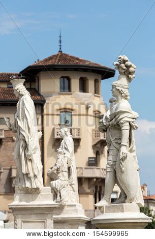 PADUA, ITALY - MAY3, 2016: Statues on Piazza Prato della Valle Padua Italy.