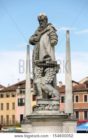 PADUA, ITALY - MAY3, 2016: Statue on Piazza of Prato della Valle Padua Italy.