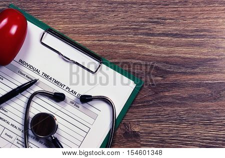 Medical stethoscope and office tablet with a prescription for medicine