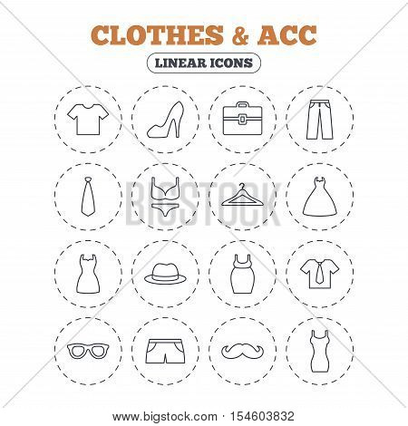 Clothes and accessories icons. Shirt with tie, pants and woman dress symbols. Hat, hanger and glasses thin outline signs. Underwear and maternity clothes. Round flat buttons with linear icons. Vector