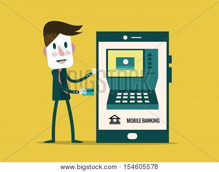 Money transaction technology business mobile banking and mobile payment. flat character design. vector illustration