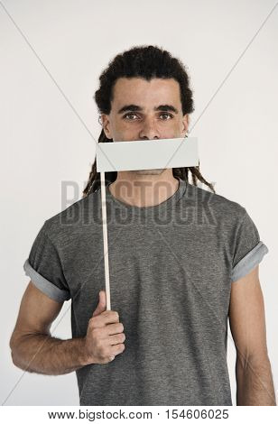 Hipster Man Voiceless Covering Mouth Speechless Concept